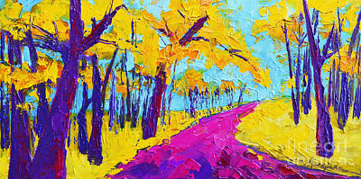 Searching Within - Enchanted Forest Collection - Modern Impressionist Landscape Art - Palette Knife Original by Patricia Awapara