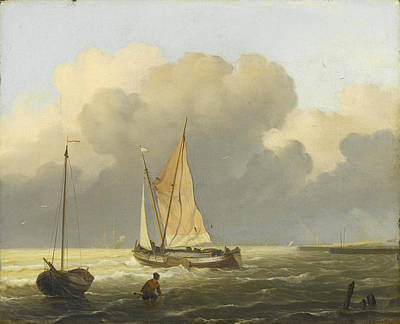 Painting - Seas Off The Coast, With Spritsail Barge by Ludolf Bakhuizen