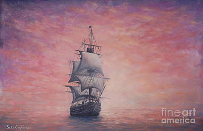 Ghost Ship Painting - Seascape 7 Pieces Of Eight by Sean Conlon