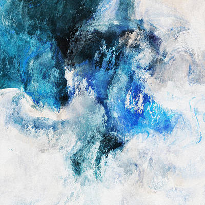 Contemporary Seascape Art Painting - Seascape Abstract Painting - Minimalist Waves by Ayse and Deniz