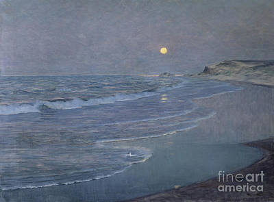 Moonlight Beach Painting - Seascape by Alexander Harrison