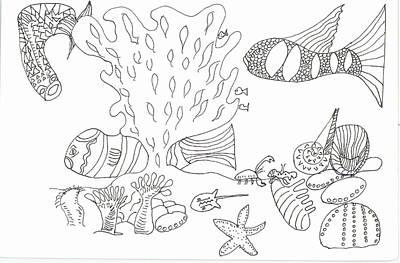 Seascape And Corals Art Print