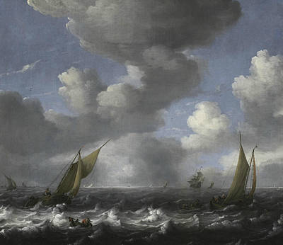 Painting - Seascape And Fishing Boats by Ludolf Bakhuizen