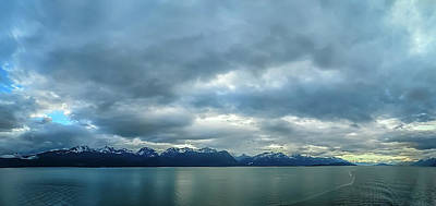Photograph - Seascape And Mountain Landscape On Blue Sky Background In Alaska by Alex Grichenko