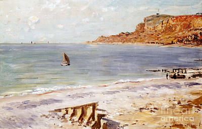 Impressionist Beach Painting - Seascape At Sainte Adresse  by Claude Monet