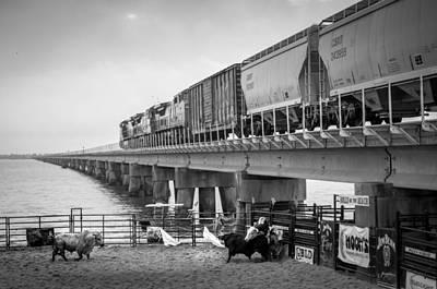Of Rodeo Bucking Bulls Photograph - Seascape Bsl E60b by Otri Park