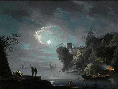 Painting - Seascape By Moonlight by Attributed to Francesco Fidanza