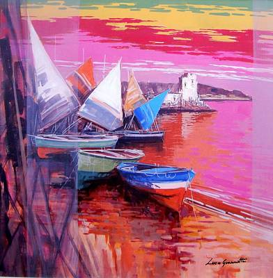 Italy Town Large Painting - Seascape Cetara Italy by Luca Guarnotti
