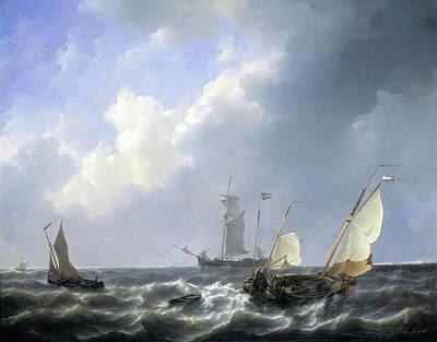 Seascape From The Zeeland Waters Art Print by Petrus Johannes Schotel