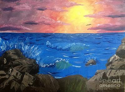 Beach Sunset Drawing - Seascape by Izzie Hartzell