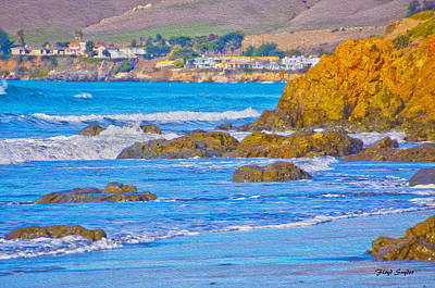 Waterscape Painting - Seascape Landscape Cayucos California by Floyd Snyder
