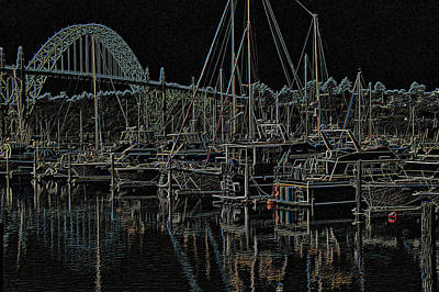 Photograph - Yaquina Bay Neon by Thom Zehrfeld