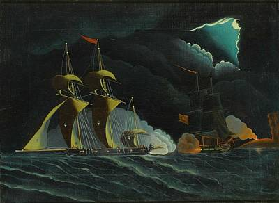 Pirate Ship Painting - Seascape, Night Scene With Pirate Ships by Thomas Chambers