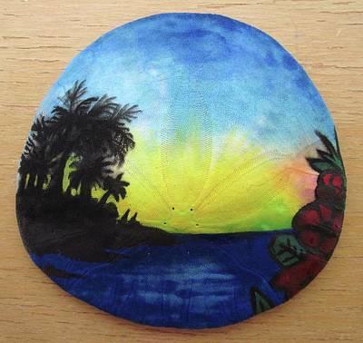 Mixed Media - Seascape On A Sand Dollar by Mary Ellen Frazee