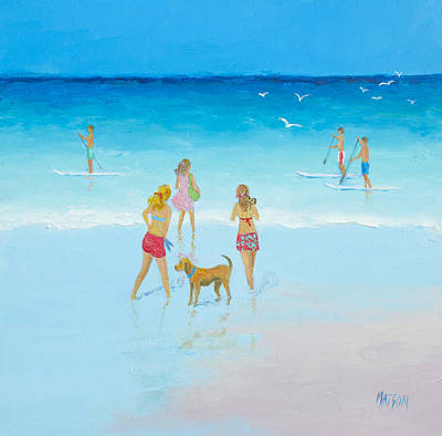 Beach Holiday Painting - Seascape Painting - The Paddle Boarders by Jan Matson