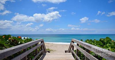 Photograph - Seascape Sunrise Morning Boardwalk Beach B1 by Ricardos Creations