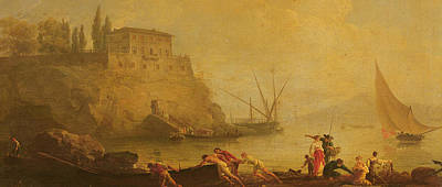 Pushing Out Painting - Seascape, Sunset  Fishermen Pushing Out A Boat  by Claude Joseph Vernet