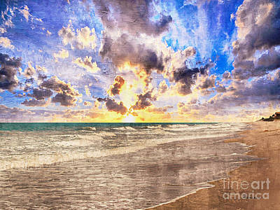 Painting - Seascape Sunset Impressionist Digital Painting B7 by Ricardos Creations