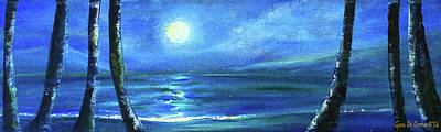 Painting - Seascape With A Moon by Gina De Gorna