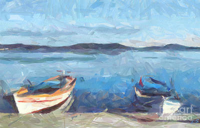 Painting - Seascape With Boats by Sergey Lukashin