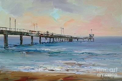 Seascape With Bridge Art Print