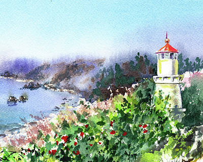 Painting - Seascape With Lighthouse by Irina Sztukowski