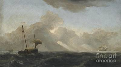 Seascape With Passing Storm Art Print