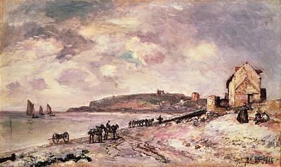 91 Painting - Seascape With Ponies On The Beach by Johan Barthold Jongkind
