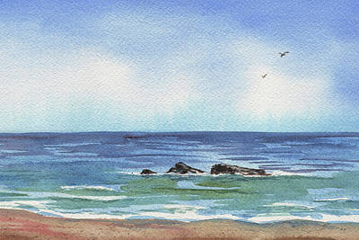 Painting - Seascape With Three Rocks by Irina Sztukowski