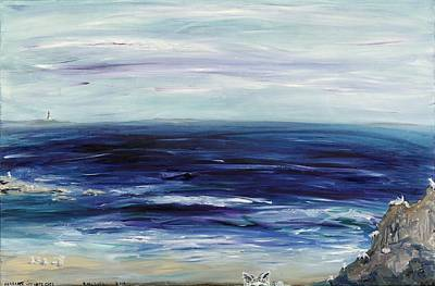 Seascape With White Cats Art Print
