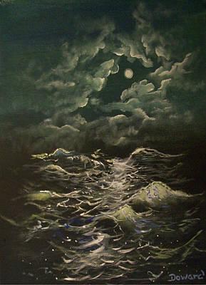 Painting - Seascape#2 Moonlight by Raymond Doward