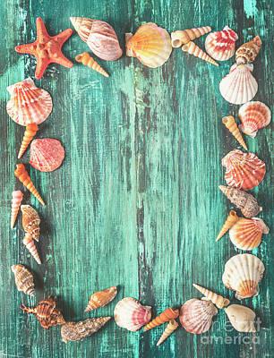 Seashell And Starfish Frame On Wooden Background Art Print by Jelena Jovanovic
