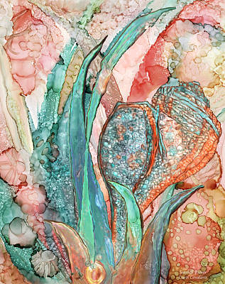 Mixed Media - Seashell Flower - Organica by Carol Cavalaris