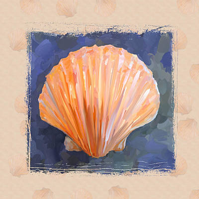Painting - Seashell I Grunge With Border by Jai Johnson