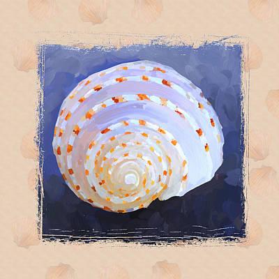 Seashell Iv Grunge With Border Print by Jai Johnson