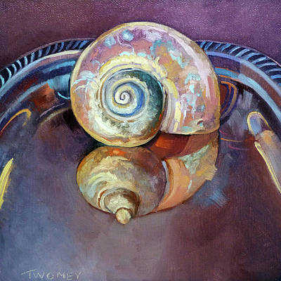 Painting - Seashell Served Up On A Silver Platter by Catherine Twomey