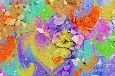 Seashell Stones And Hearts Art Print by Kathleen Struckle