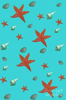 Digital Art - Seashells And Starfish Aqua by Rachel Hannah