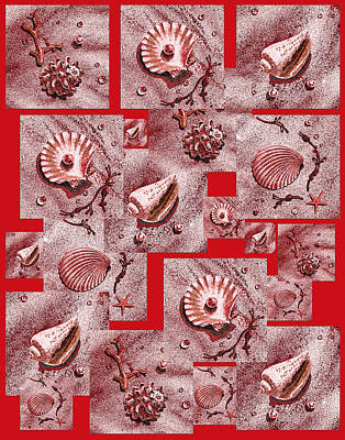 Painting - Seashells On Red by Irina Sztukowski