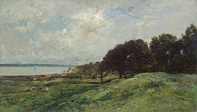 Cloudy Painting - Seashore At Villerville by Charles-Francois Daubigny