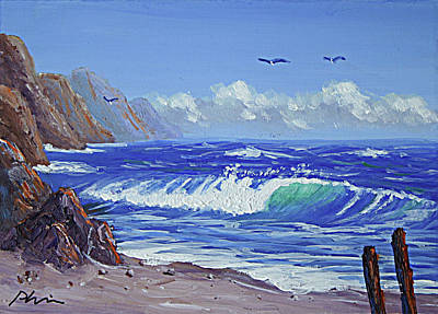 Surf The Rincon Painting - Seashore by Bob Phillips