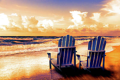 Photograph - Seaside Blues And Golds At Dawn by Debra and Dave Vanderlaan