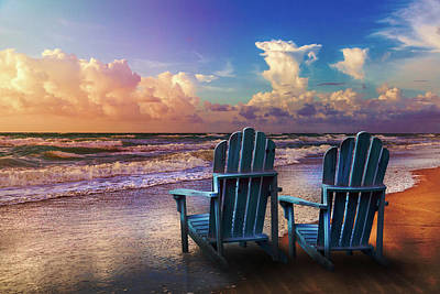 Photograph - Seaside Blues In Evening Colors by Debra and Dave Vanderlaan