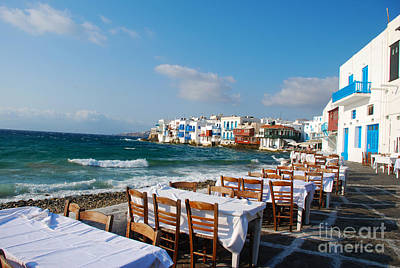 Greek Photograph - Seaside Cafe On Mykonos Island Greece by Just Eclectic