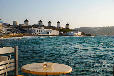 Europe Photograph - Seaside Cafe View Of Mykonos Island Windmills by Just Eclectic