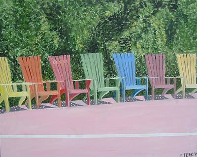 Seaside Chairs Art Print by John Terry