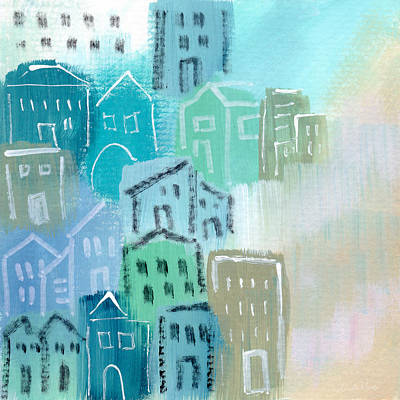 Seaside City- Art By Linda Woods Print by Linda Woods