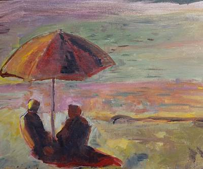 San Clemente Painting - Seaside Conversation by Elisabeth Refn