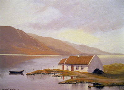 Currach Painting - Seaside Cottage by Cathal O malley