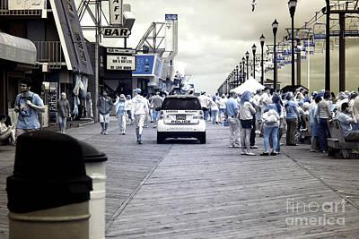 Seaside Heights Boardwalk Crowds Infrared Art Print by John Rizzuto